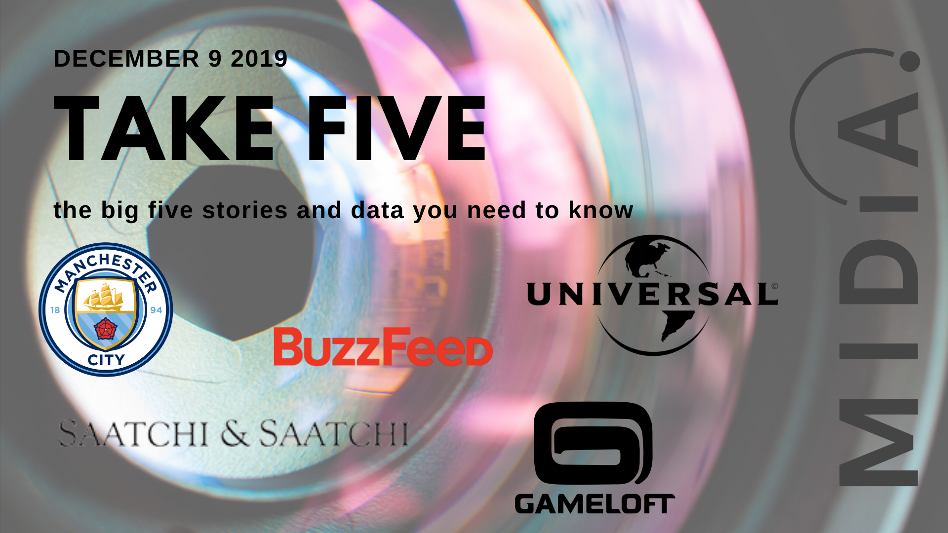 Cover image for Take Five (the big five stories and data you need to know) December 9th 2019
